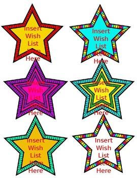 Wish List For Your Classroom-Open House, Meet The Teacher- Editable