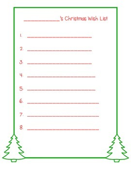 Wish List and Santa Letter Template