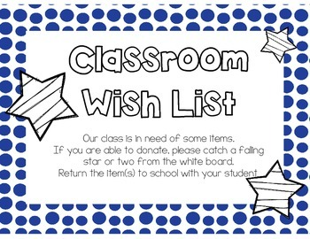 Wish List for Open House