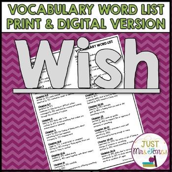 Wish Vocabulary Word List