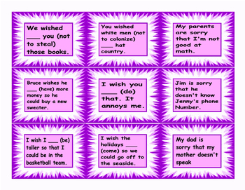Wish and Modal Verbs of Regret Cards