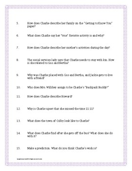 Wish by Barbara O'Connor Chapter 1 Vocabulary and Comprehension Study Guide