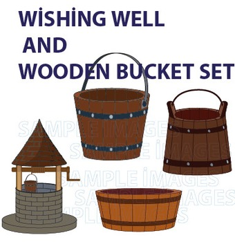 Wishing well and wooden bucket clipart