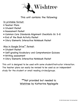 Wishtree Novel Study Book Unit Distance Learning