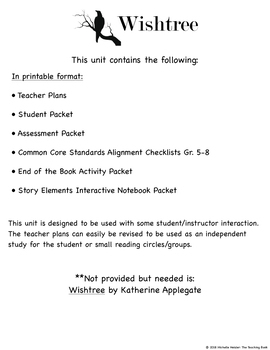 Wishtree Novel Study Book Unit Printable Version