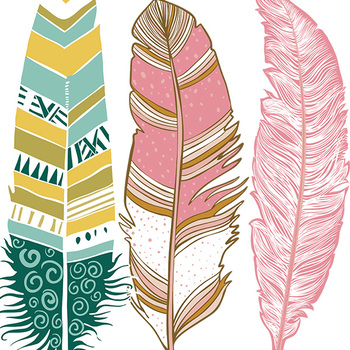 Wispy Aztec Feather Clip Art, Feather ClipArt Images, Pink, Tribal, Native