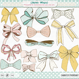 Wispy Bow Clip Art, Bow Tie, Gift Wrap, Tied BowTie, Pastel Pink and Yellow