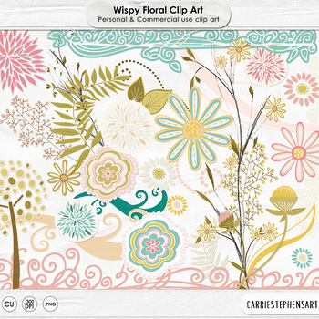 Wispy Floral Clip Art - Flowers, Leaves and Foliage - Mother's Day, Easter
