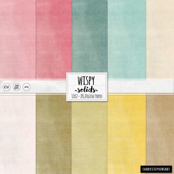 Wispy Solid Cardstock, Pastel Digital Papers, Textured Bac