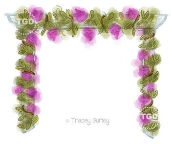 Wisteria Trellis - Wedding, Garden clip art, Printable Tracey Gurley Designs