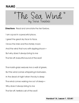 Wit & Wisdom, Grade 3, Module 1, Lesson 1 Handouts