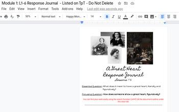 Wit & Wisdom Grade 4 Module 1: L1-6 Google doc Response Journal