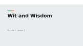Wit & Wisdom Module 0 - Lesson 1