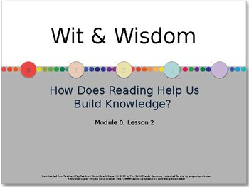 Wit & Wisdom Module 0 - Lesson 2 PowerPoint & Lesson Guide