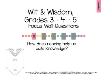 Wit & Wisdom Module 0 (grades 3-5) Questions for Classroom Display