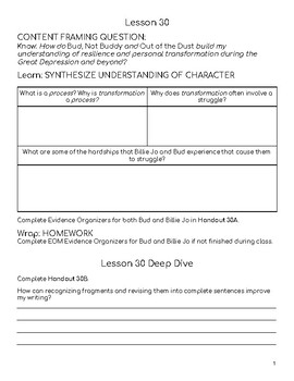 Wit & Wisdom Module 1 Lessons 30-34 Response Journal