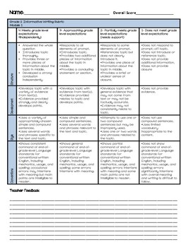Wit and Wisdom Grade 2 End of Module 1 Rubric with Teacher Feedback
