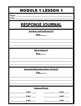 Wit and Wisdom Grade 3 Module 1 Journal Pages