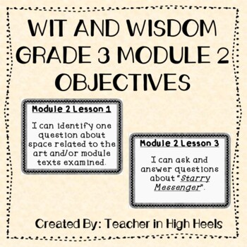Wit and Wisdom Grade 3 Module 2 Objectives