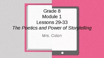 Wit and Wisdom Grade 8 Module 1 Lessons 29-33