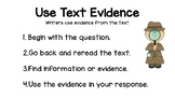 Wit and Wisdom Kindergarten: Use Text Evidence Signs