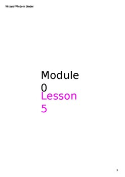 Wit and Wisdom Module 0 3-5 Lesson 5 Power Point Interactive Binder Mr. Falker