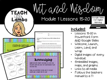 Wit and Wisdom - Module 1 Lessons 16-20
