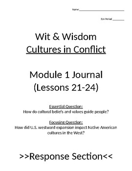 Wit and Wisdom Module 1 Lessons 21-24 Journal