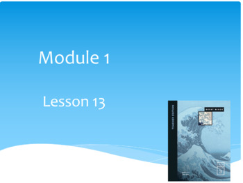 Wit and Wisdom Module 1 The Sea Lessons 13-15