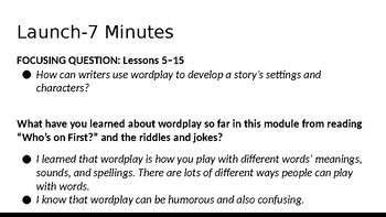 Wit and Wisdom Module 2 Lessons 5-15