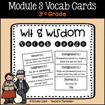 Wit and Wisdom Module 3 Vocabulary Cards Third Grade