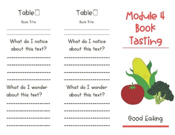 Wit and Wisdom Module 4 Book Tasting Trifold