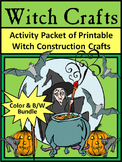 Witch Activities: Witch Crafts Halloween Activity Packet Bundle - Color & B/W