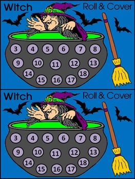 Witch Activities: Witch Roll & Cover Halloween Math Activity Bundle - Color & BW