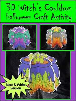 Witch Activities: 3D Witch's Cauldron Halloween Craft Activity Packet - B/W