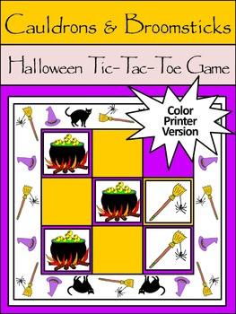 Witch Activities: Cauldrons & Broomsticks Halloween Tic-Tac-Toe Game Activity