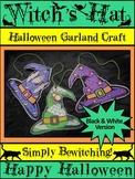 Witch Activities: Witch's Hat Garland Halloween Craft Activity - B/W