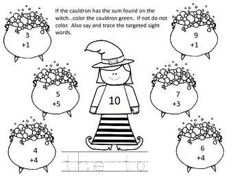 Witch Cauldron Addition and Sight Words