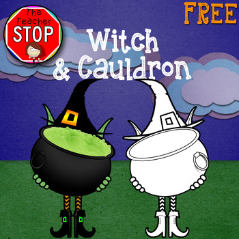 Witch & Cauldron - FREE Large Halloween Clipart {The Teacher Stop}