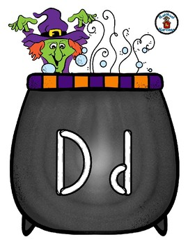 Witch & Cauldron - Play Dough Manipulative Mats - Alphabet Numbers Colors Shapes