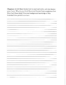 Witch Child by Celia Rees Student Response Journal Writing Prompts