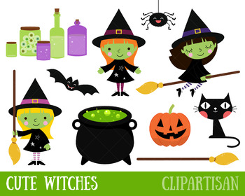 Witch Clip Art | Halloween Printable | Spider | Black Cat | Jack-o-lantern