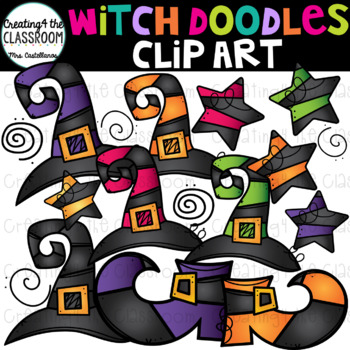 Witch Doodles Clip Art {Halloween Clip Art}