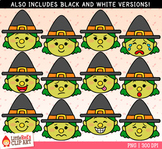 Witch Emojis Faces Halloween Clip Art