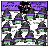 Witch Emoticons Clip Art Bundle  {Educlips Clipart}