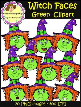 Witch Faces Clip Art - Green (School Designhcf)