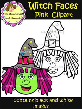 Witch Faces Clip Art - Pink (School Designhcf)