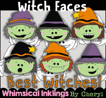 Witch Faces Clipart Collection