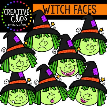 Witch Faces {Creative Clips Digital Clipart}