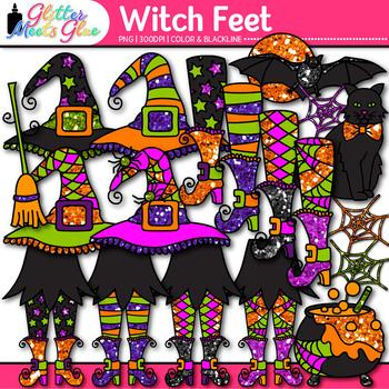 Halloween Witch Feet Clip Art {Spider Web, Bat, Cat, Hat,